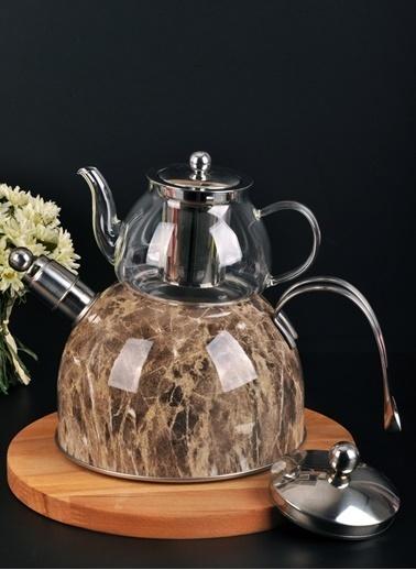 Bayev Mermer Düdüklü Cam Çaydanlık-200602 Kahve